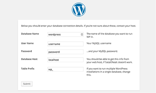 WordPress Installation - Database Connection