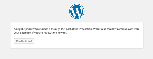 WordPress Installation - Run the install