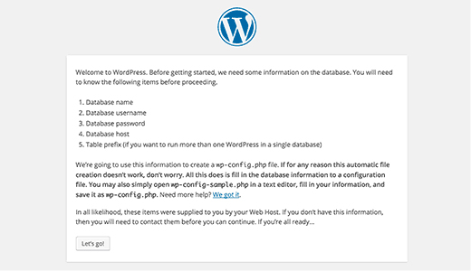 WordPress Installation - Configuration